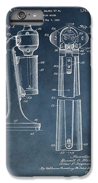 1930 Drink Mixer Patent Blue IPhone 6 Plus Case by Dan Sproul