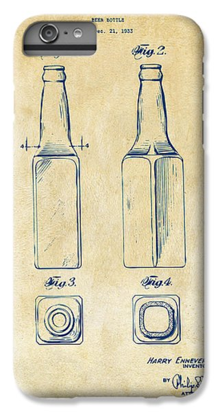 1934 Beer Bottle Patent Artwork - Vintage IPhone 6 Plus Case by Nikki Marie Smith