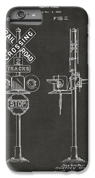 1936 Rail Road Crossing Sign Patent Artwork - Gray IPhone 6 Plus Case by Nikki Marie Smith