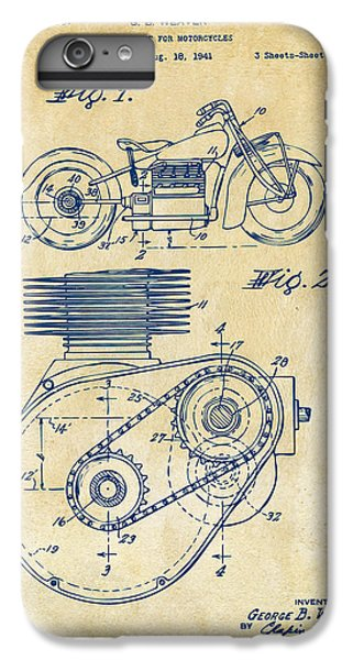 1941 Indian Motorcycle Patent Artwork - Vintage IPhone 6 Plus Case by Nikki Marie Smith