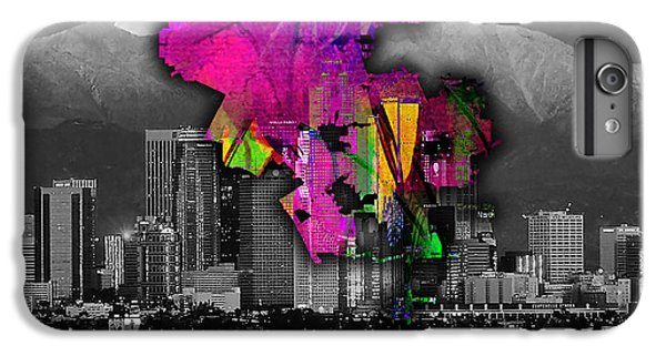 Los Angeles Map And Skyline Watercolor IPhone 6 Plus Case by Marvin Blaine