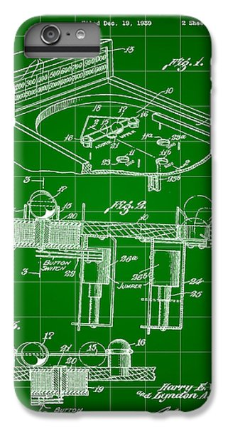 Pinball Machine Patent 1939 - Green IPhone 6 Plus Case by Stephen Younts