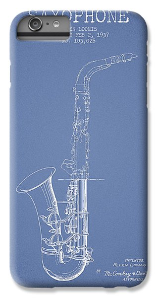 Saxophone Patent Drawing From 1937 - Light Blue IPhone 6 Plus Case by Aged Pixel