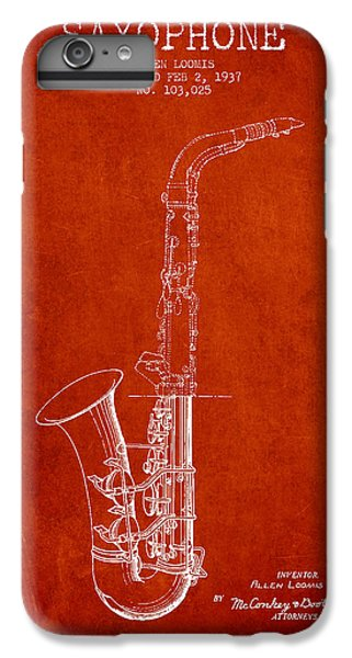 Saxophone Patent Drawing From 1937 - Red IPhone 6 Plus Case by Aged Pixel
