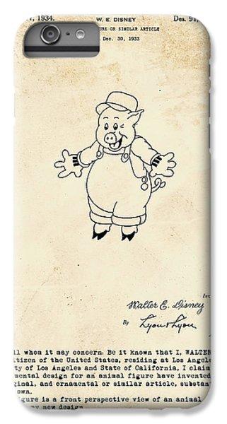 Disney Pig Patent IPhone 6 Plus Case by Marlene Watson