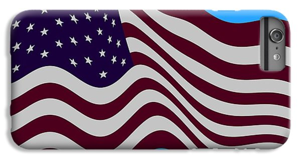 Abstract Burgundy Grey Violet 50 Star American Flag Flying Cropped IPhone 6 Plus Case by L Brown