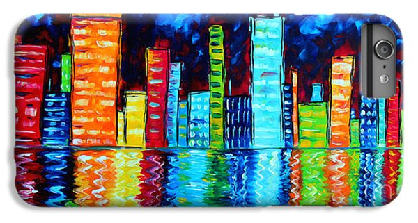 Abstract Art Landscape City Cityscape Textured Painting City Nights II By Madart IPhone 6 Plus Case by Megan Duncanson