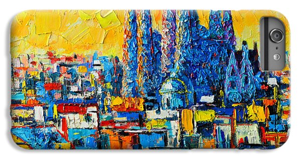 Abstract Sunset Over Sagrada Familia In Barcelona IPhone 6 Plus Case by Ana Maria Edulescu