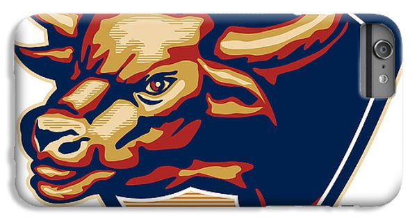 Angry Bull Head Crest Retro IPhone 6 Plus Case by Aloysius Patrimonio