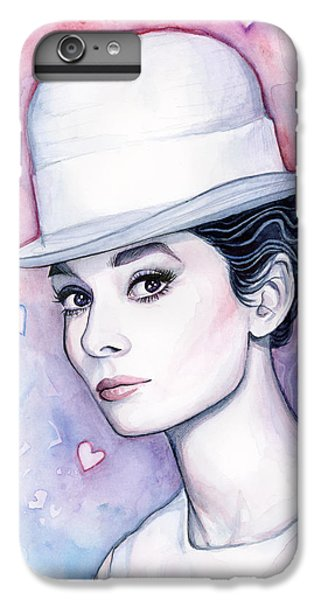 Audrey Hepburn Fashion Watercolor IPhone 6 Plus Case by Olga Shvartsur