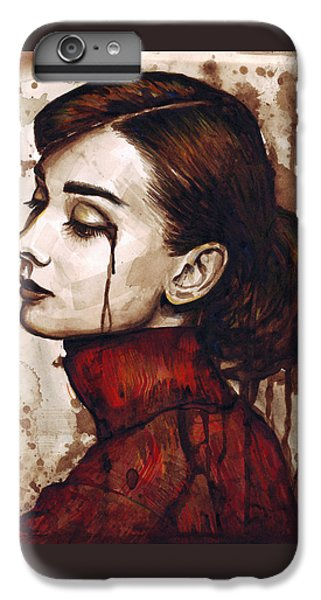 Audrey Hepburn - Quiet Sadness IPhone 6 Plus Case by Olga Shvartsur