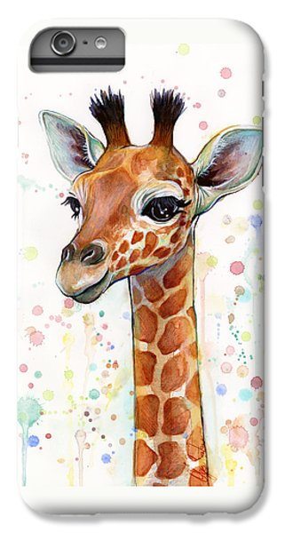 Baby Giraffe Watercolor  IPhone 6 Plus Case by Olga Shvartsur