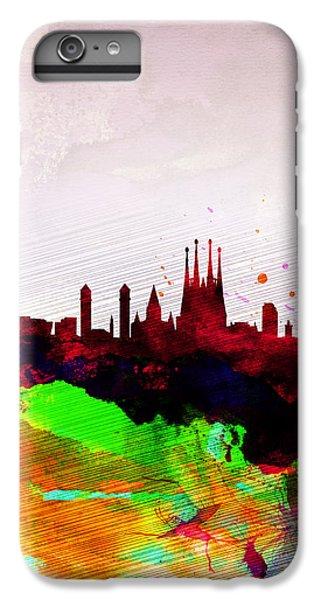 Barcelona Watercolor Skyline IPhone 6 Plus Case by Naxart Studio