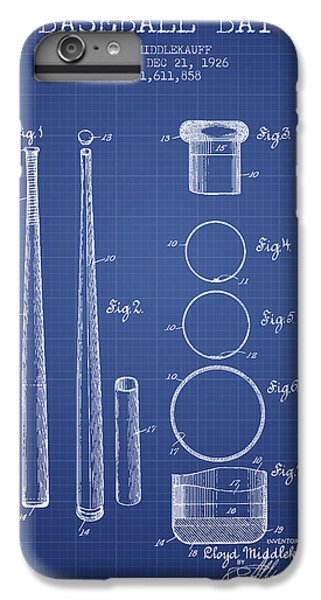 Baseball Bat Patent From 1926 - Blueprint IPhone 6 Plus Case by Aged Pixel