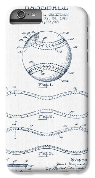 Baseball Patent Drawing From 1928 - Blue Ink IPhone 6 Plus Case by Aged Pixel