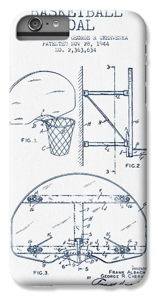 Basketball Goal Patent From 1944 - Blue Ink IPhone 6 Plus Case by Aged Pixel