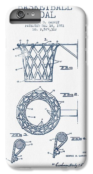 Basketball Goal Patent From 1951 - Blue Ink IPhone 6 Plus Case by Aged Pixel