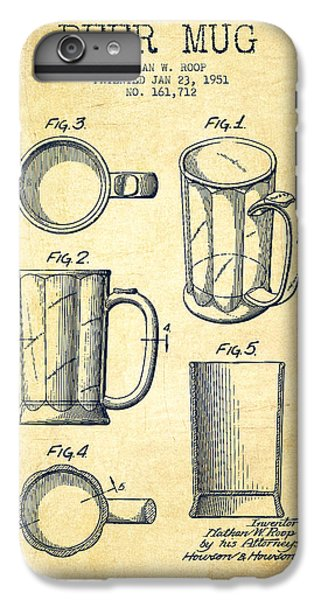 Beer Mug Patent Drawing From 1951 - Vintage IPhone 6 Plus Case by Aged Pixel