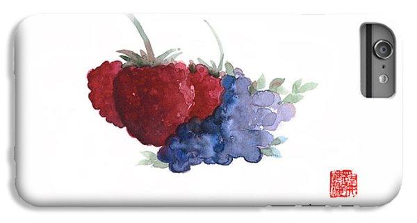 Berries Red Pink Black Blue Fruit Blueberry Blueberries Raspberry Raspberries Fruits Watercolors  IPhone 6 Plus Case by Johana Szmerdt