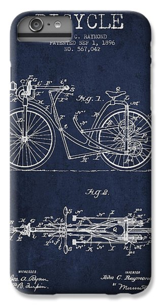 Bicycle Patent Drawing From 1896 - Navy Blue IPhone 6 Plus Case by Aged Pixel