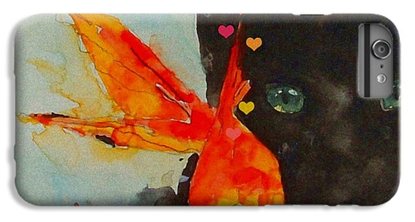 Black Cat And The Goldfish IPhone 6 Plus Case by Paul Lovering