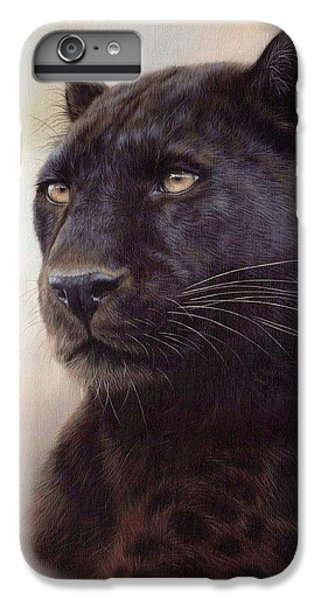 Black Leopard Painting IPhone 6 Plus Case by Rachel Stribbling