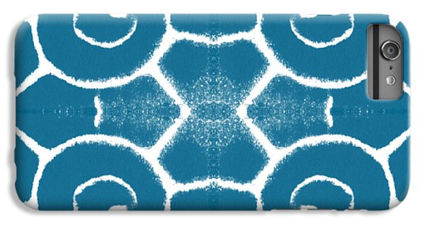 Blue And White Wave Tile- Abstract Art IPhone 6 Plus Case by Linda Woods