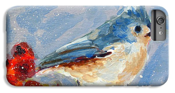 Blue Bird In Winter - Tuft Titmouse Modern Impressionist Art IPhone 6 Plus Case by Patricia Awapara