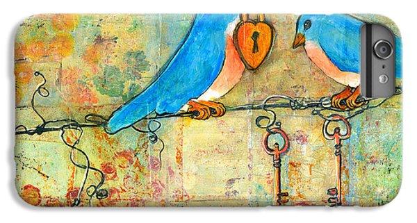 Bluebird Painting - Art Key To My Heart IPhone 6 Plus Case by Blenda Studio