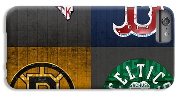 Boston Sports Fan Recycled Vintage Massachusetts License Plate Art Patriots Red Sox Bruins Celtics IPhone 6 Plus Case by Design Turnpike