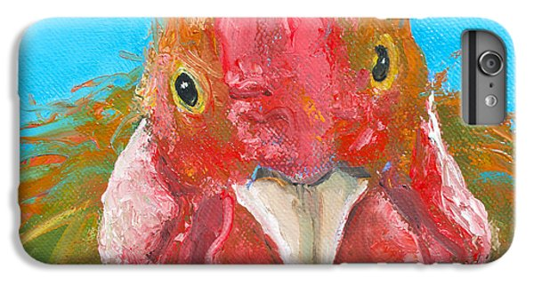 Brown Rooster On Blue IPhone 6 Plus Case by Jan Matson