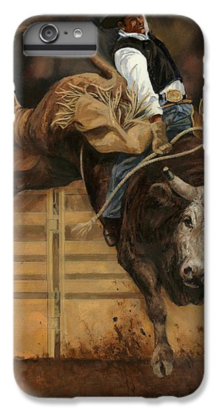Bull Riding 1 IPhone 6 Plus Case by Don  Langeneckert