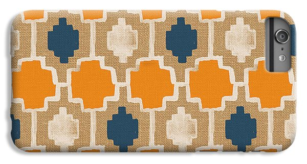 Burlap Blue And Orange Design IPhone 6 Plus Case by Linda Woods