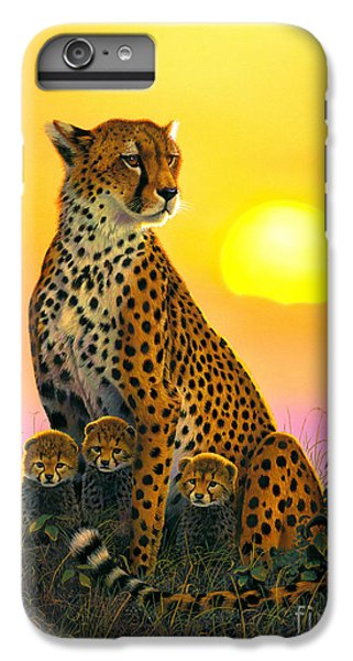 Cheetah And Cubs IPhone 6 Plus Case by MGL Studio - Chris Hiett