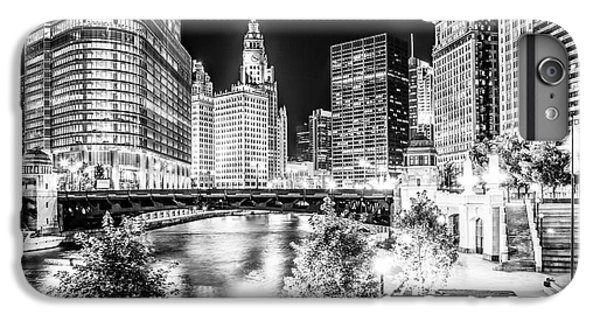 Chicago River Buildings At Night In Black And White IPhone 6 Plus Case by Paul Velgos