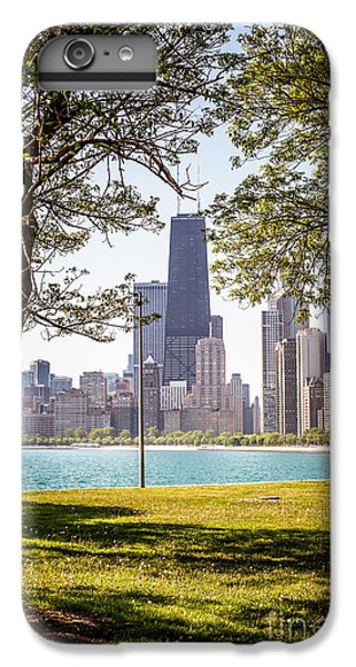 Chicago Skyline And Hancock Building Through Trees IPhone 6 Plus Case by Paul Velgos