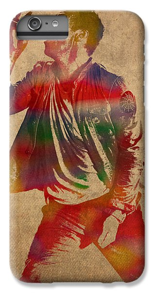 Chris Martin Coldplay Watercolor Portrait On Worn Distressed Canvas IPhone 6 Plus Case by Design Turnpike