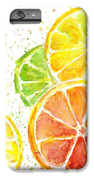 Citrus Fruit Watercolor IPhone 6 Plus Case by Olga Shvartsur