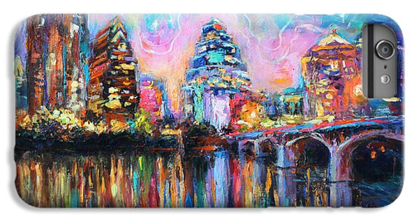 Contemporary Downtown Austin Art Painting Night Skyline Cityscape Painting Texas IPhone 6 Plus Case by Svetlana Novikova