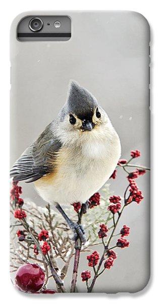 Cute Winter Bird - Tufted Titmouse IPhone 6 Plus Case by Christina Rollo