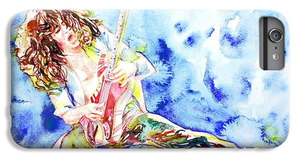 Eddie Van Halen Playing The Guitar.1 Watercolor Portrait IPhone 6 Plus Case by Fabrizio Cassetta