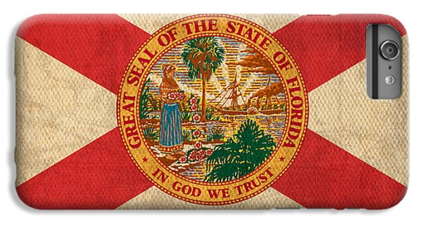 Florida State Flag Art On Worn Canvas IPhone 6 Plus Case by Design Turnpike