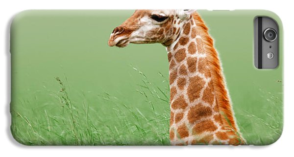 Giraffe Lying In Grass IPhone 6 Plus Case by Johan Swanepoel