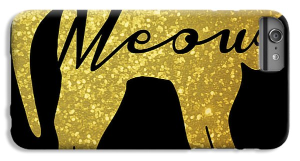 Golden Glitter Cat - Meow IPhone 6 Plus Case by Pati Photography