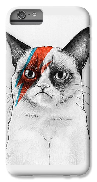 Grumpy Cat As David Bowie IPhone 6 Plus Case by Olga Shvartsur