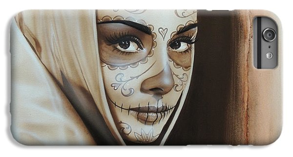 Audrey Hepburn - ' Hepburn De Los Muertos ' IPhone 6 Plus Case by Christian Chapman Art