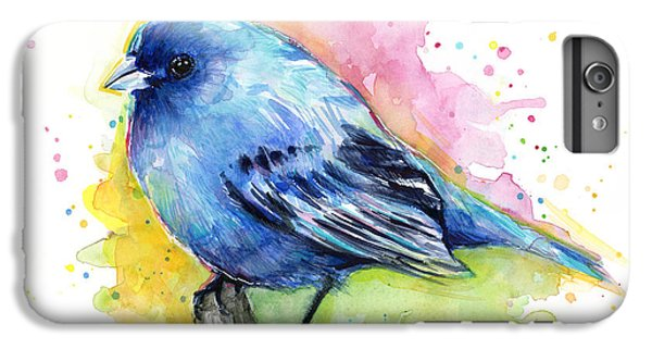 Indigo Bunting Blue Bird Watercolor IPhone 6 Plus Case by Olga Shvartsur