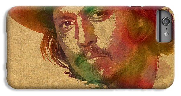 Johnny Depp Watercolor Portrait On Worn Distressed Canvas IPhone 6 Plus Case by Design Turnpike