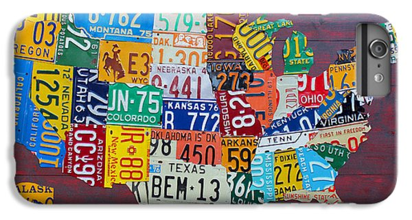 License Plate Map Of The United States IPhone 6 Plus Case by Design Turnpike