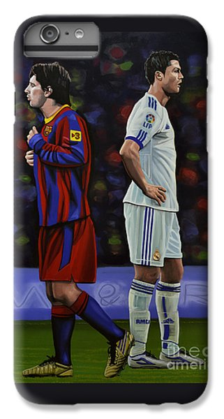Lionel Messi And Cristiano Ronaldo IPhone 6 Plus Case by Paul Meijering